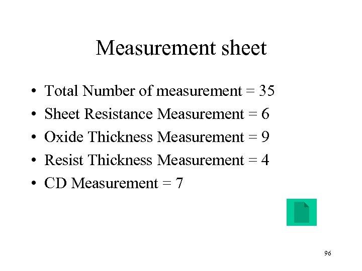Measurement sheet • • • Total Number of measurement = 35 Sheet Resistance Measurement