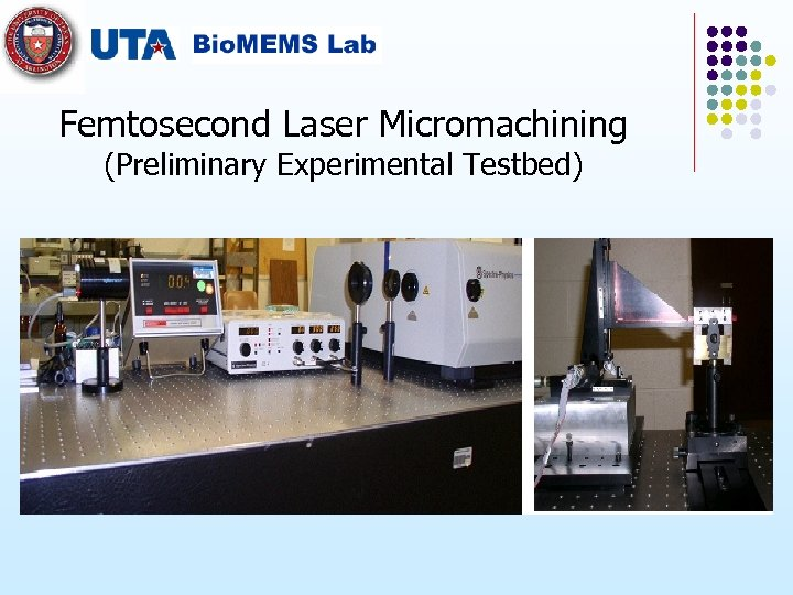 Femtosecond Laser Micromachining (Preliminary Experimental Testbed)