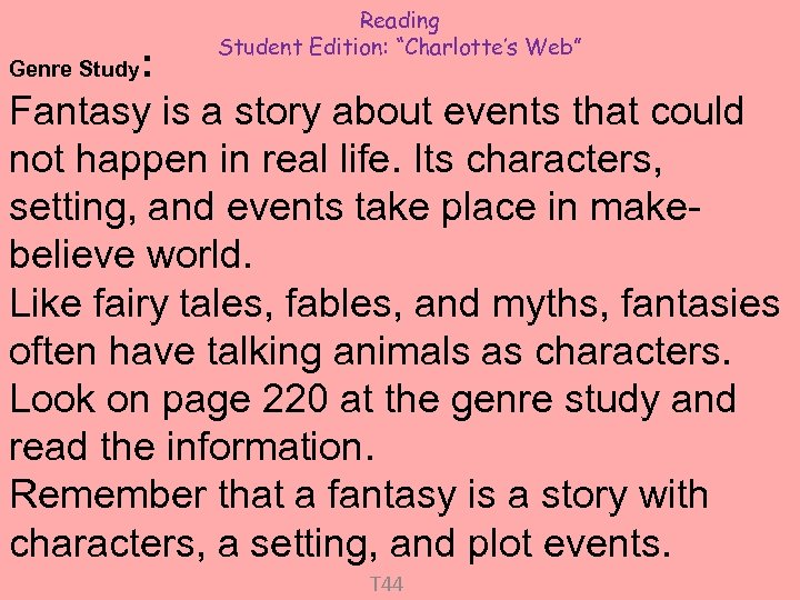 "Reading Student Edition: ""Charlotte's Web"" : Fantasy is a story about events that could"