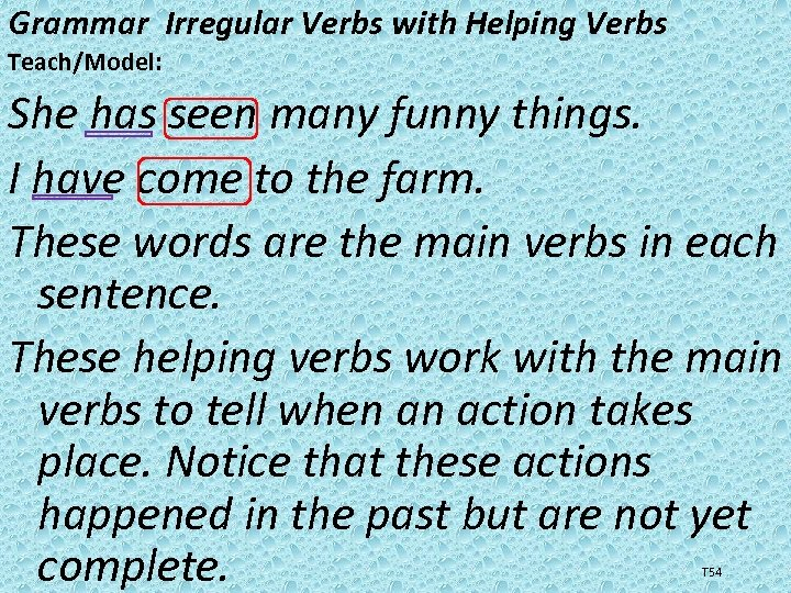 Grammar Irregular Verbs with Helping Verbs Teach/Model: She has seen many funny things. I