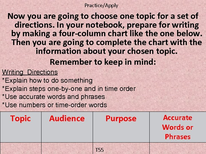Practice/Apply Now you are going to choose one topic for a set of directions.