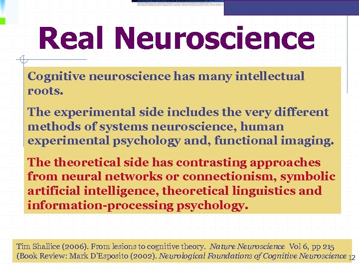 Real Neuroscience Cognitive neuroscience has many intellectual roots. The experimental side includes the very