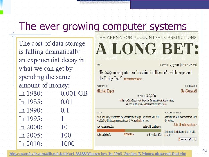 The ever growing computer systems The cost of data storage is falling dramatically –