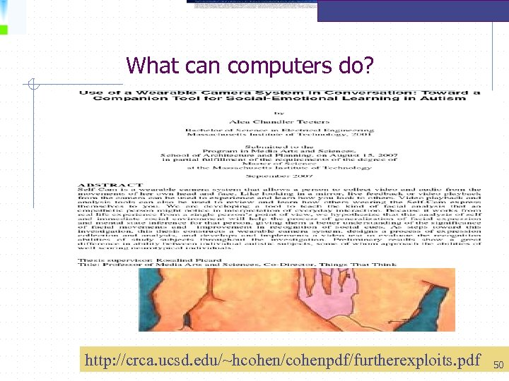 What can computers do? http: //crca. ucsd. edu/~hcohen/cohenpdf/furtherexploits. pdf 50