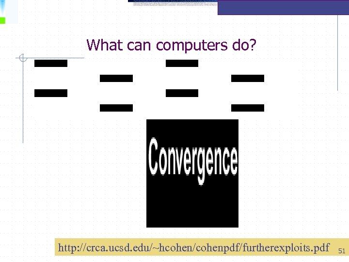 What can computers do? http: //crca. ucsd. edu/~hcohen/cohenpdf/furtherexploits. pdf 51