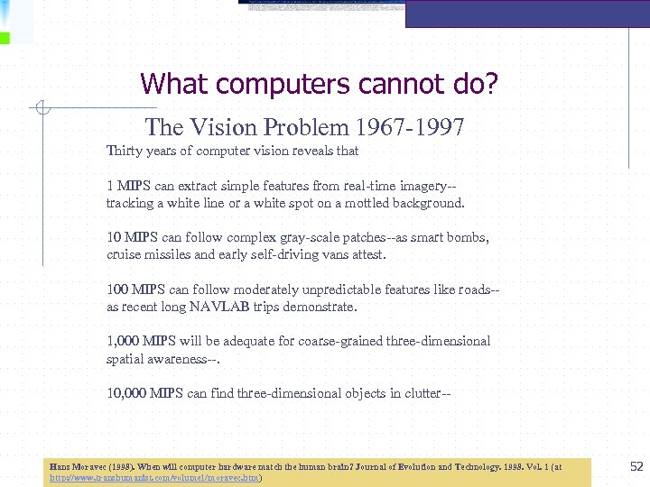 What computers cannot do? The Vision Problem 1967 -1997 Thirty years of computer vision