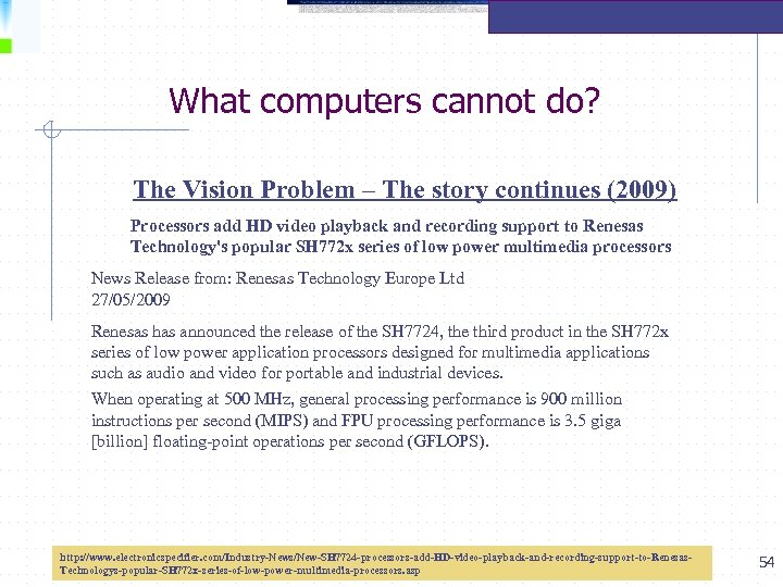 What computers cannot do? The Vision Problem – The story continues (2009) Processors add