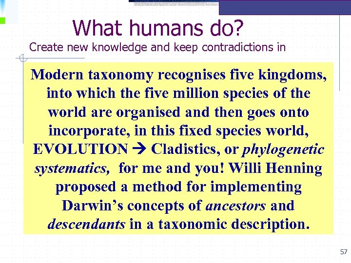 What humans do? Create new knowledge and keep contradictions in Modern taxonomy recognises five