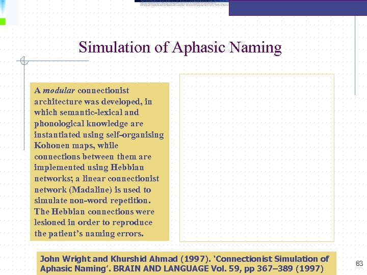 Simulation of Aphasic Naming A modular connectionist architecture was developed, in which semantic-lexical and