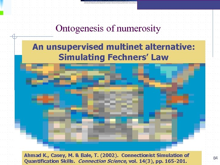 Ontogenesis of numerosity An unsupervised multinet alternative: Simulating Fechners' Law Ahmad K. , Casey,