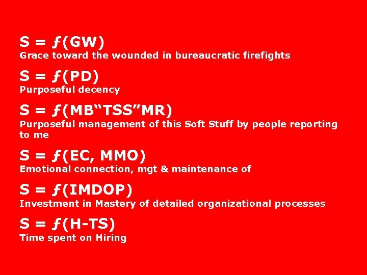 S = ƒ(GW) Grace toward the wounded in bureaucratic firefights S = ƒ(PD) Purposeful