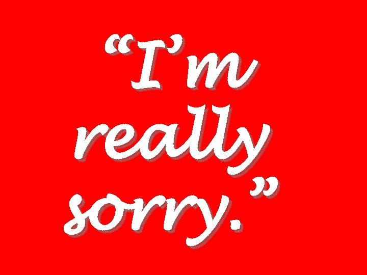 """""""I'm really sorry. """""""