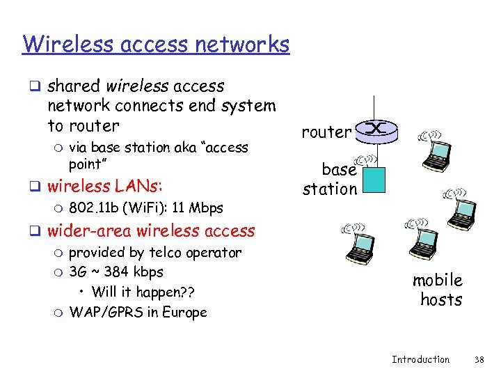 Wireless access networks q shared wireless access network connects end system to router m