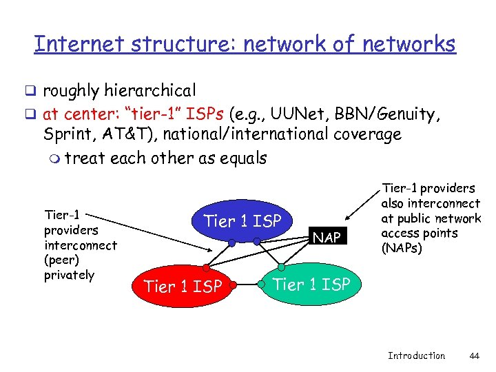 "Internet structure: network of networks q roughly hierarchical q at center: ""tier-1"" ISPs (e."