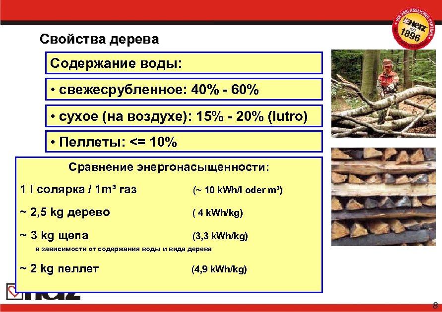 Свойства дерева Содержание воды: • свежесрубленное: 40% - 60% • сухое (на воздухе): 15%