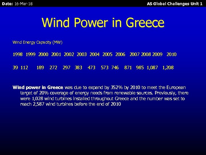 Date: 16 -Mar-18 AS Global Challenges Unit 1 Wind Power in Greece Wind Energy