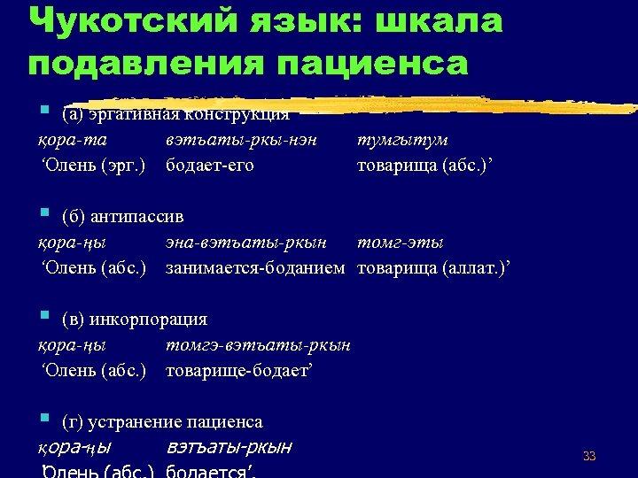Чукотский язык: шкала подавления пациенса § (а) эргативная конструкция қора та вэтъаты ркы нэн