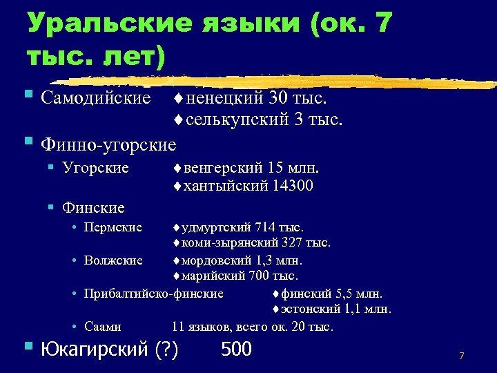 Уральские языки (ок. 7 тыс. лет) § Самодийские ненецкий 30 тыс. § селькупский 3