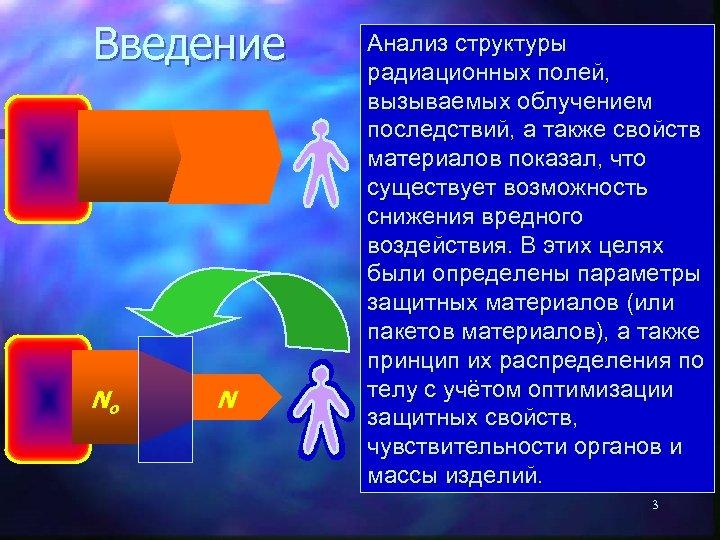 Введение Nо N Анализ структуры Согласно ранее радиационных полей, доминирующим вызываемых облучением представлениям степень