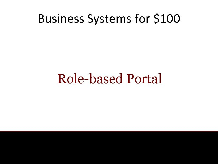 Business Systems for $100 Role-based Portal