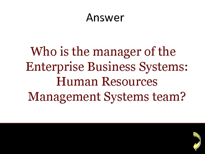 Answer Who is the manager of the Enterprise Business Systems: Human Resources Management Systems
