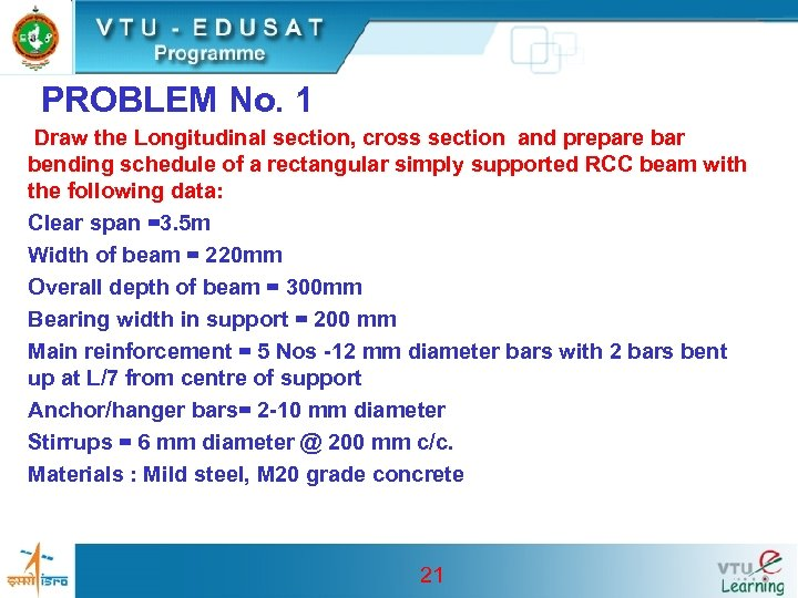 PROBLEM No. 1 Draw the Longitudinal section, cross section and prepare bar bending schedule
