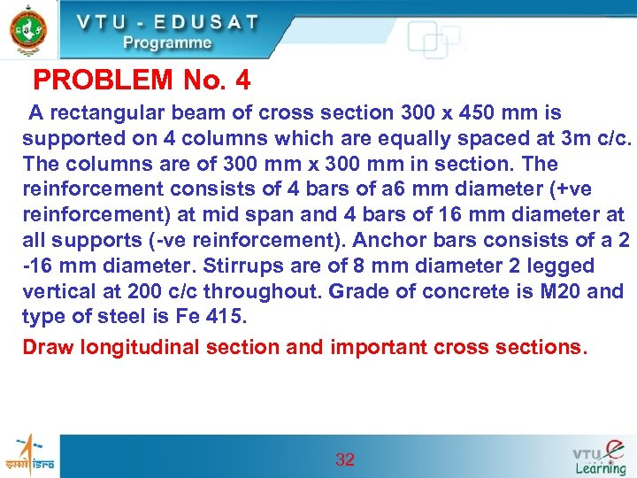 PROBLEM No. 4 A rectangular beam of cross section 300 x 450 mm is