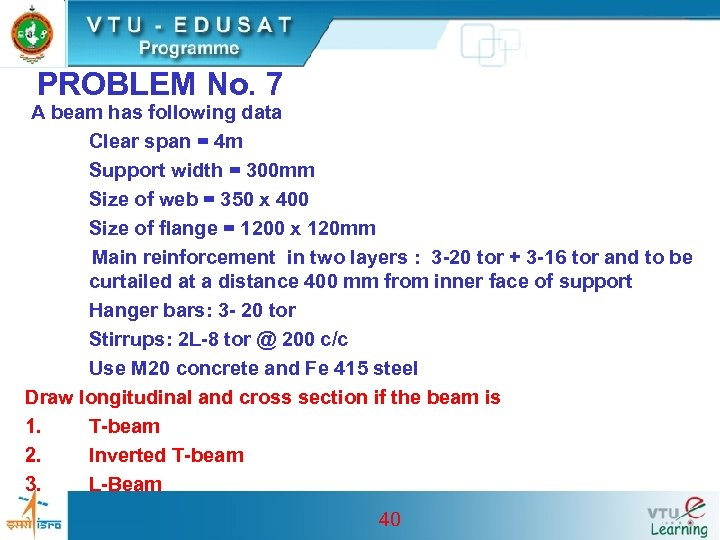 PROBLEM No. 7 A beam has following data Clear span = 4 m Support