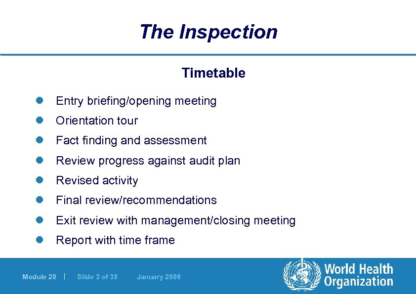 The Inspection Timetable l Entry briefing/opening meeting l Orientation tour l Fact finding and