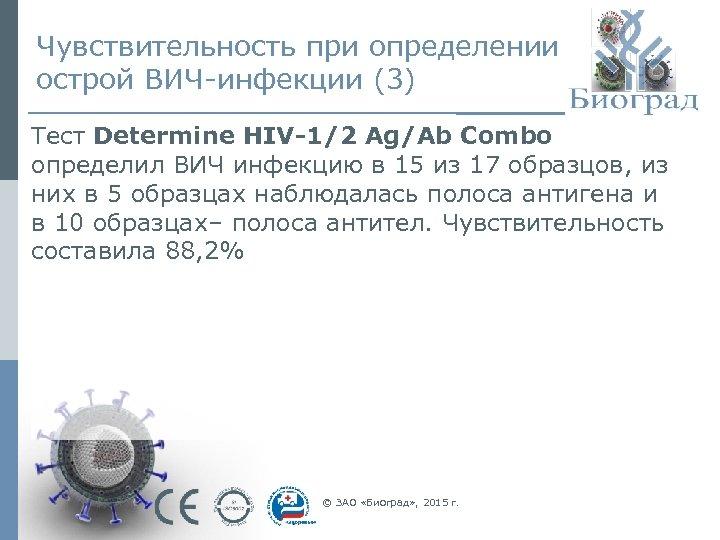 Чувствительность при определении острой ВИЧ-инфекции (3) Тест Determine HIV-1/2 Ag/Ab Combo определил ВИЧ инфекцию