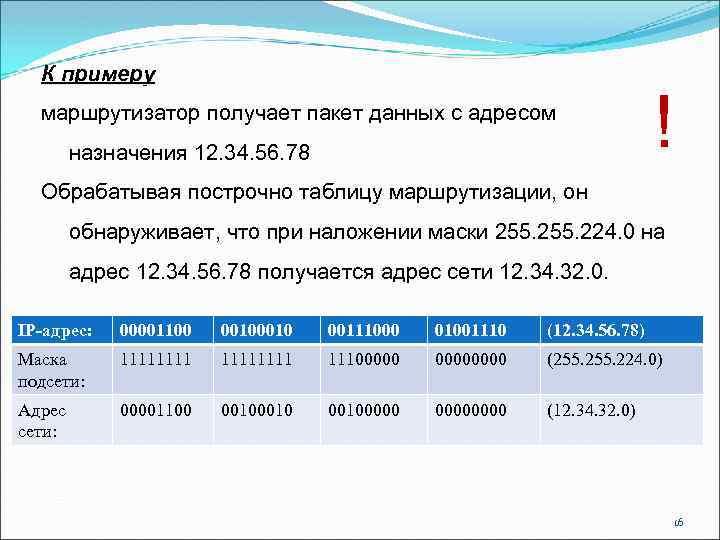 К примеру маршрутизатор получает пакет данных с адресом назначения 12. 34. 56. 78 !