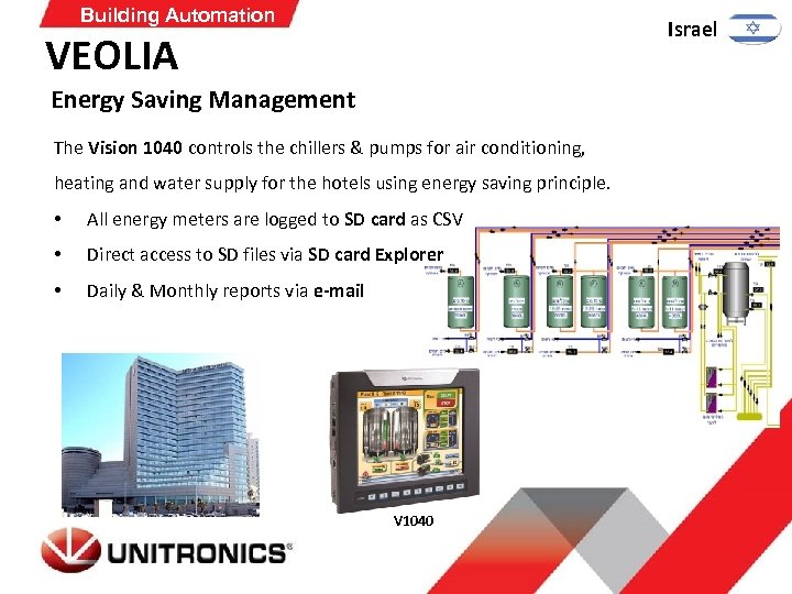 Building Automation Israel VEOLIA Energy Saving Management The Vision 1040 controls the chillers &
