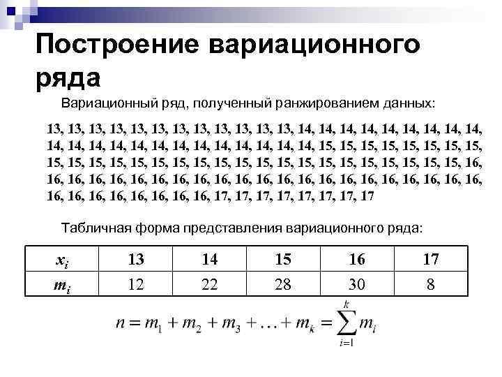 Построение вариационного ряда Вариационный ряд, полученный ранжированием данных: 13, 13, 13, 14, 14, 14,