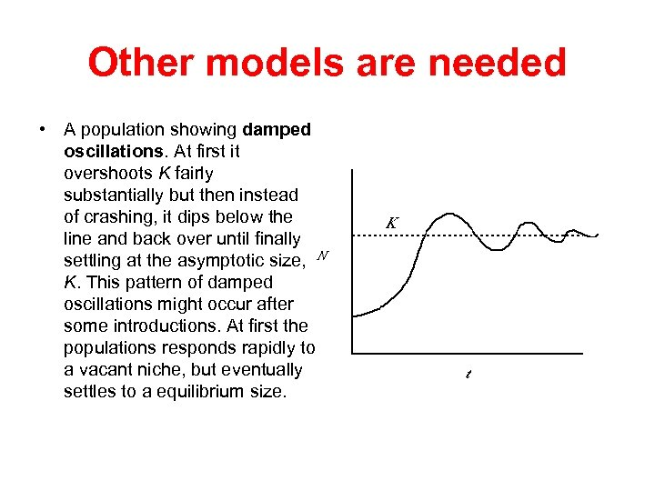 Other models are needed • A population showing damped oscillations. At first it overshoots