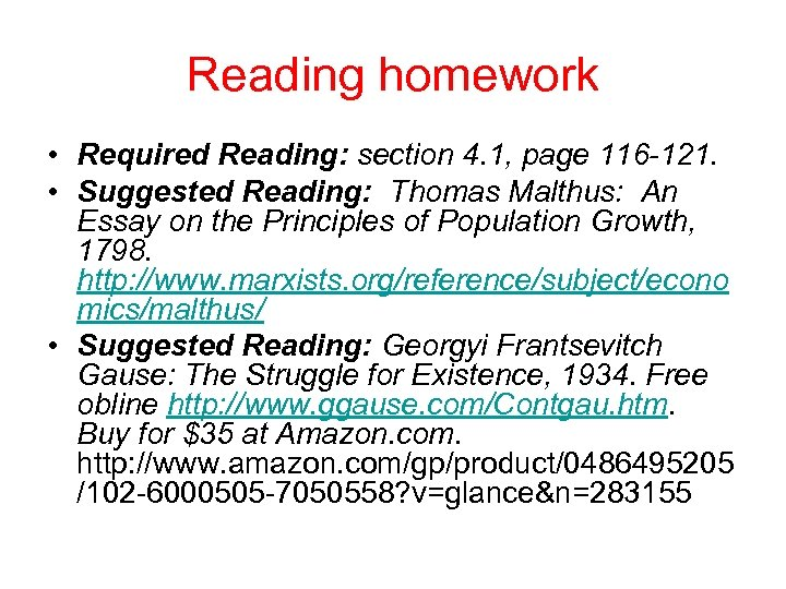 Reading homework • Required Reading: section 4. 1, page 116 121. • Suggested Reading: