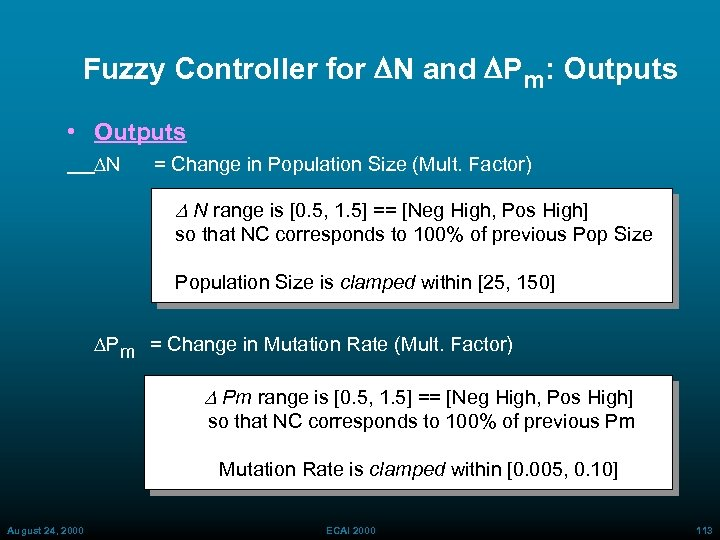 Fuzzy Controller for DN and DPm: Outputs • Outputs N = Change in Population