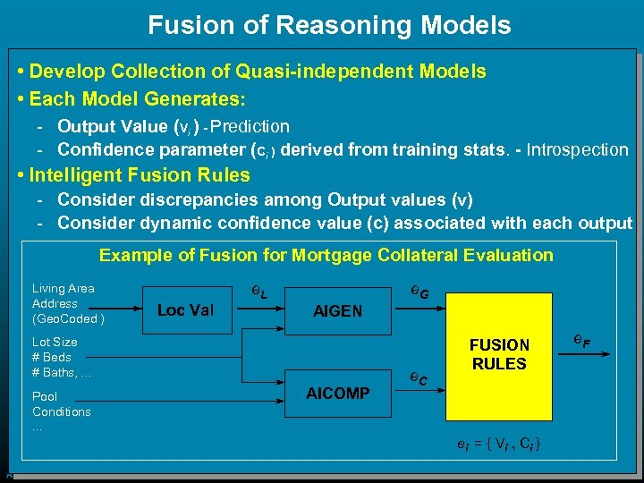Fusion of Reasoning Models • Develop Collection of Quasi-independent Models • Each Model Generates: