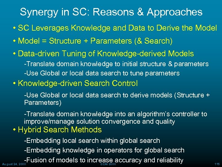 Synergy in SC: Reasons & Approaches • SC Leverages Knowledge and Data to Derive