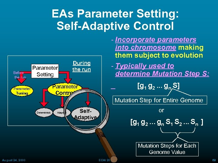 EAs Parameter Setting: Self-Adaptive Control Before the run Parameter Setting During the run Incorporate