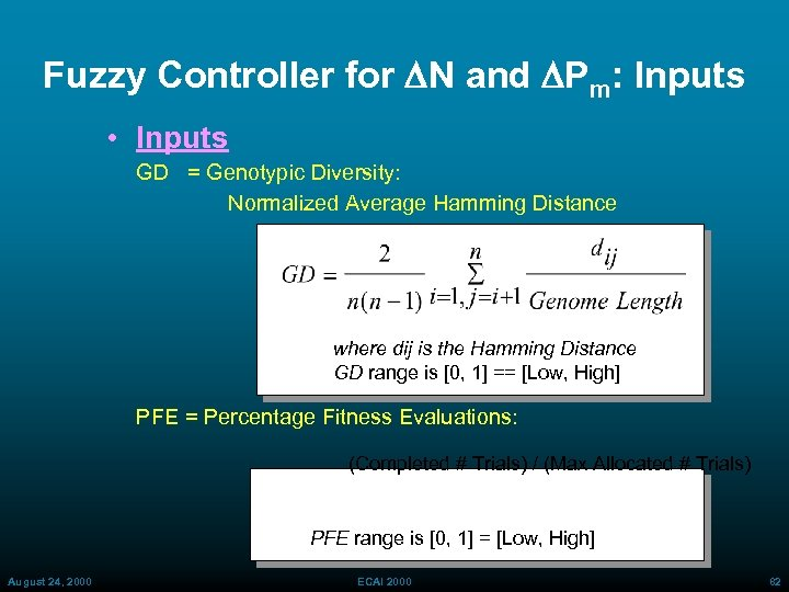 Fuzzy Controller for DN and DPm: Inputs • Inputs GD = Genotypic Diversity: Normalized