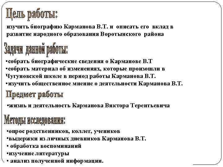 изучить биографию Карманова В. Т. и описать его вклад в развитие народного образования Воротынского