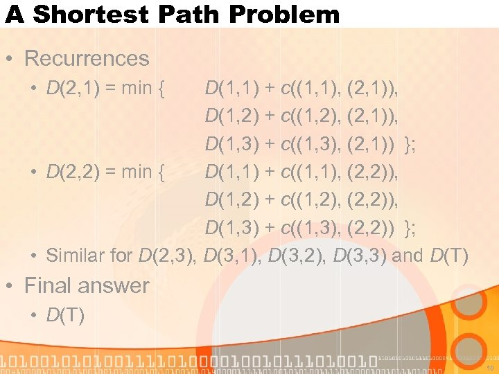 A Shortest Path Problem • Recurrences • D(2, 1) = min { D(1, 1)