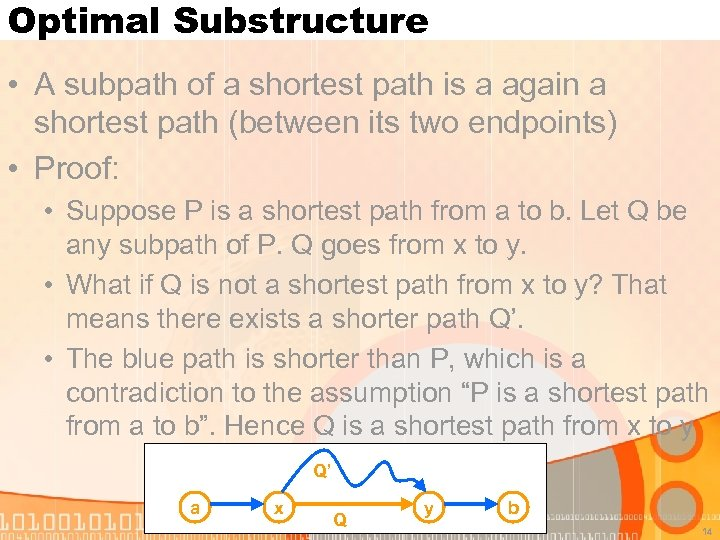 Optimal Substructure • A subpath of a shortest path is a again a shortest