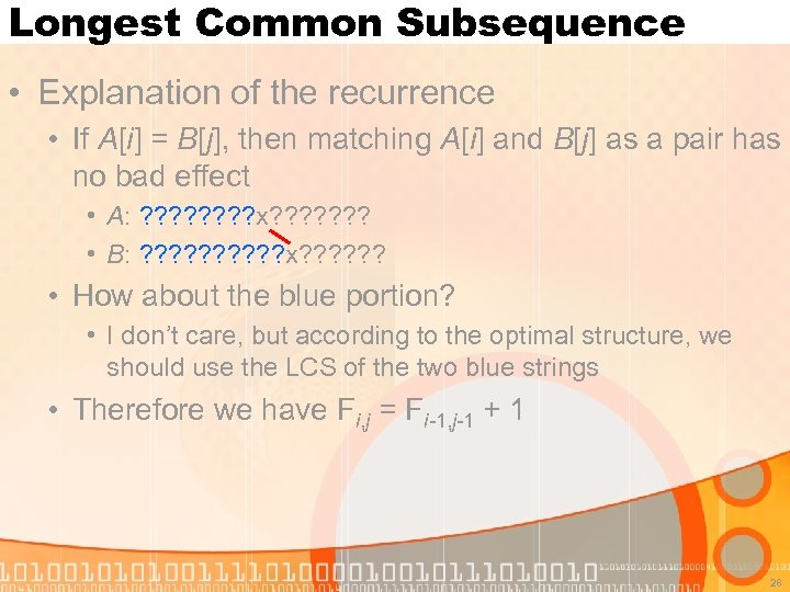 Longest Common Subsequence • Explanation of the recurrence • If A[i] = B[j], then