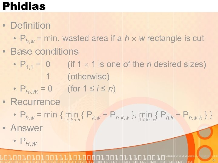 Phidias • Definition • Ph, w = min. wasted area if a h w