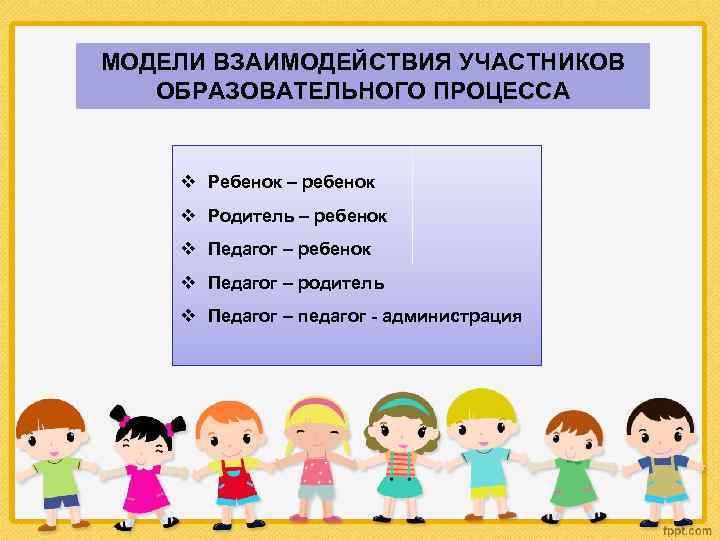 МОДЕЛИ ВЗАИМОДЕЙСТВИЯ УЧАСТНИКОВ ОБРАЗОВАТЕЛЬНОГО ПРОЦЕССА v Ребенок – ребенок v Родитель – ребенок v