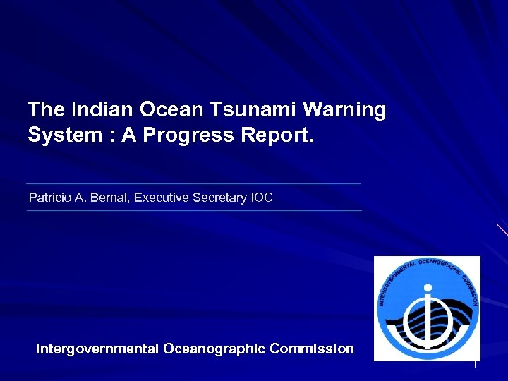 The Indian Ocean Tsunami Warning System : A Progress Report. Patricio A. Bernal, Executive