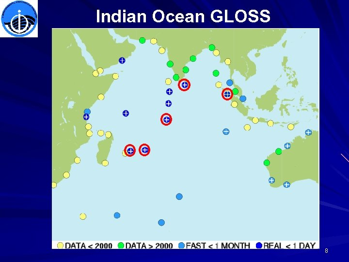 Indian Ocean GLOSS WHITE CROSS retransmission to PTWC via GTS Select station from map