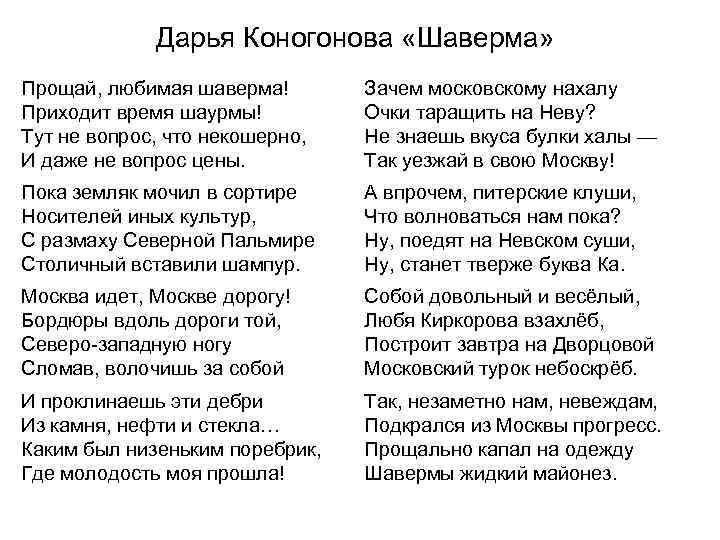 Дарья Коногонова «Шаверма» Прощай, любимая шаверма! Приходит время шаурмы! Тут не вопрос, что некошерно,