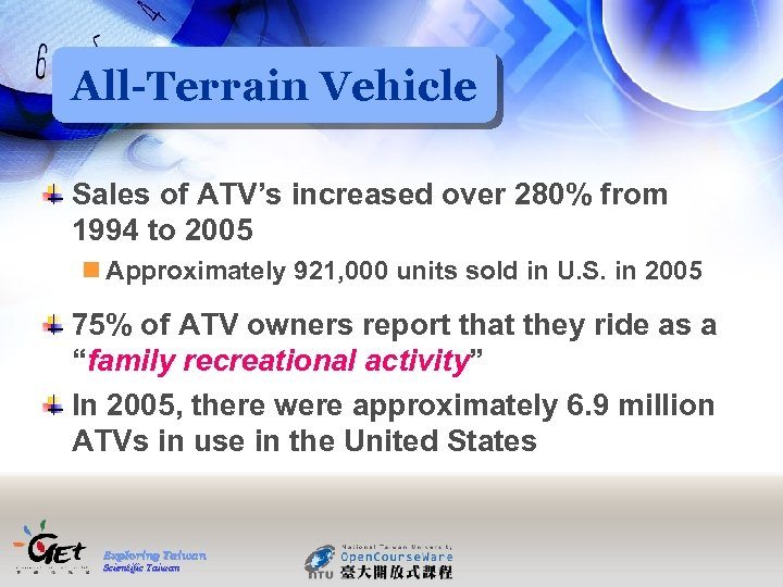 All-Terrain Vehicle Sales of ATV's increased over 280% from 1994 to 2005 n Approximately
